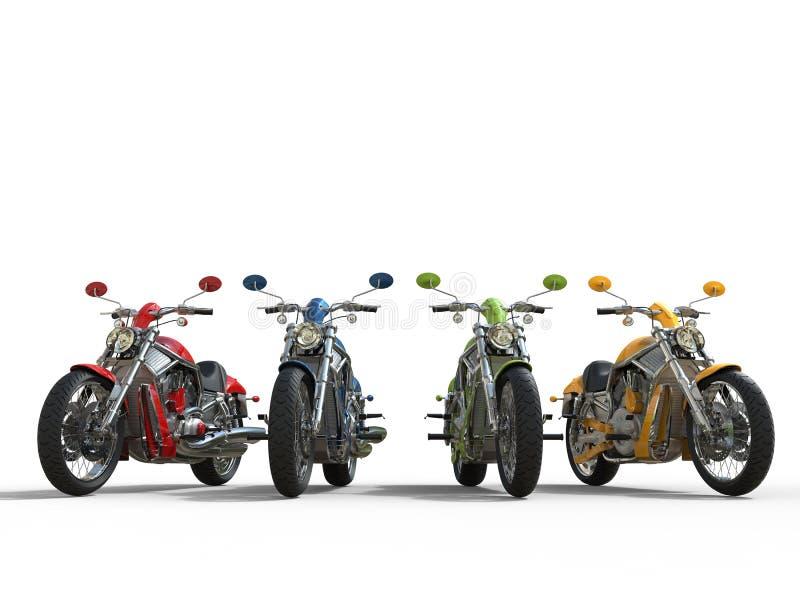 Fila delle bici d'annata fresche - vista frontale immagini stock