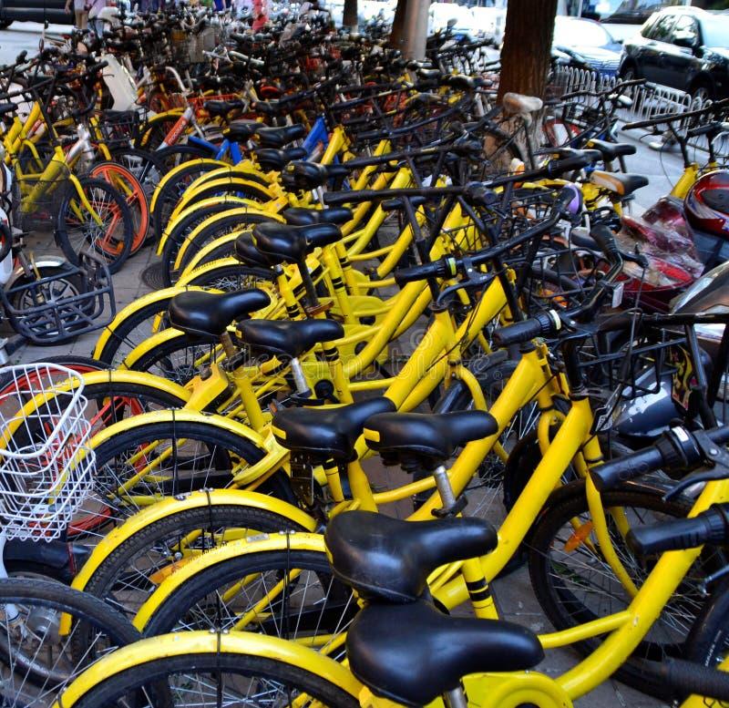 Fila delle biciclette in città di Pechino, Cina fotografie stock libere da diritti