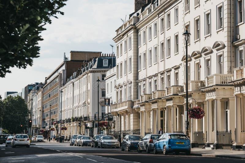 Fila delle case a terrazze bianche su una via in Pimlico, Londra, Regno Unito, durante l'ora dorata fotografia stock