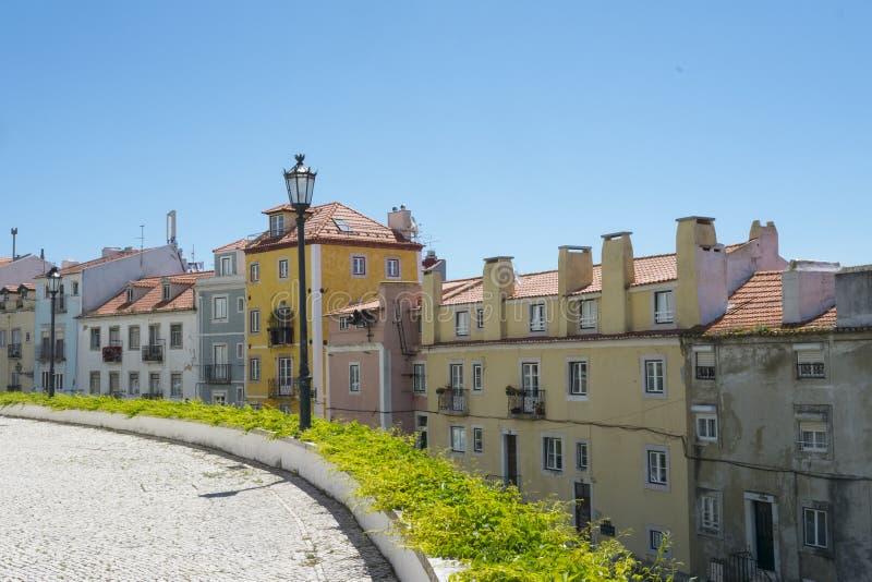 Fila delle costruzioni a Lisbona, Portogallo fotografia stock