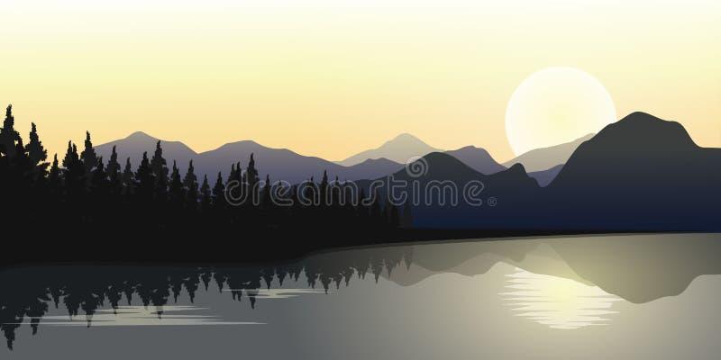 Fila delle montagne e del fiume con alba nell'orizzonte, illustrazione di vettore royalty illustrazione gratis