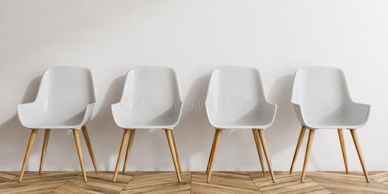 Fila delle sedie bianche e di legno illustrazione vettoriale