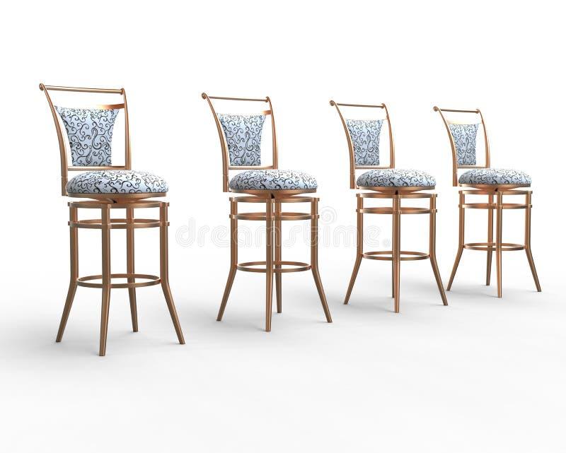 Fila delle sedie del negozio di caffè macchiato illustrazione di stock