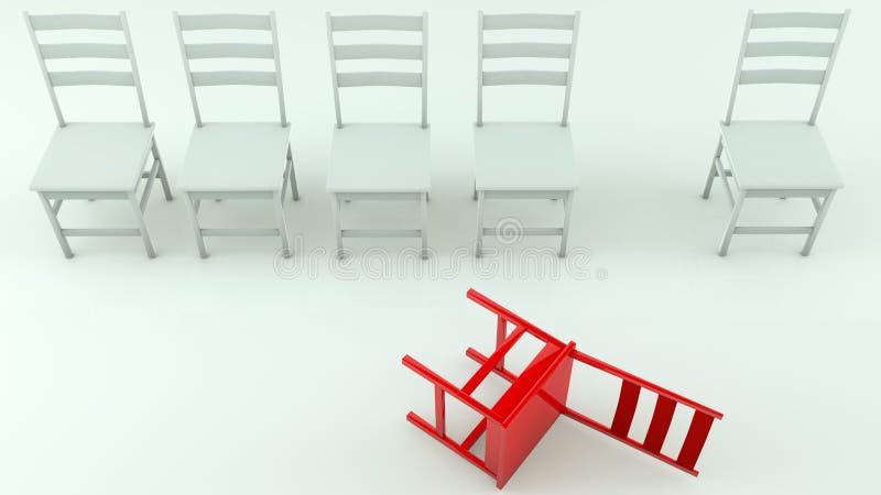 Fila delle sedie nel bianco con uno capovolto nel rosso illustrazione vettoriale