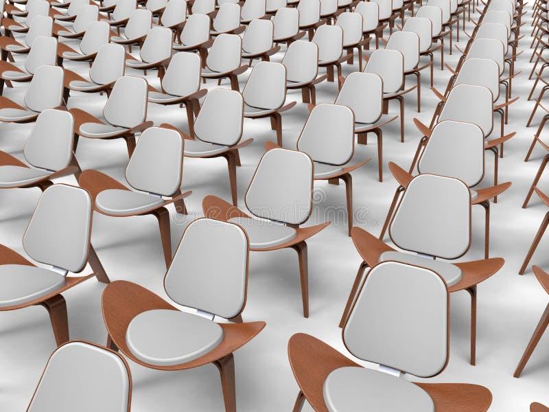 Fila delle sedie vuote - composizione isolata illustrazione vettoriale