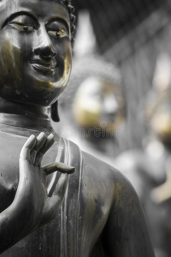 Fila delle statue di Buddha al tempio di Ganagarama, Colombo, Sri Lanka immagini stock