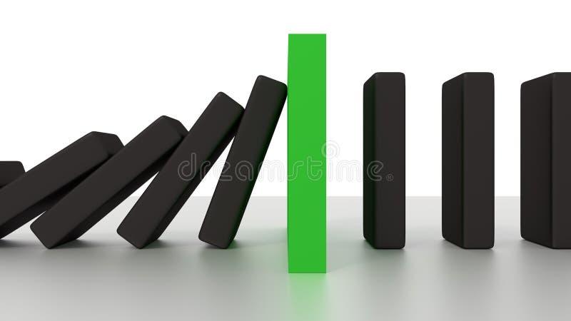 Fila descendente del dominó con el pedazo verde de la parada en el escritorio fotografía de archivo