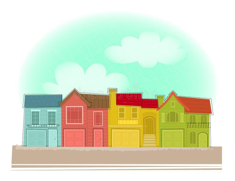 Fila di case illustrazione di stock