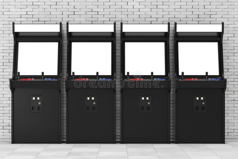 Fila di gioco Arcade Machines con lo schermo in bianco per la vostra progettazione illustrazione vettoriale