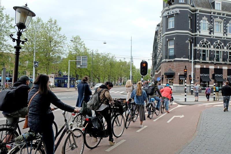 Fila dos ciclistas na frente dos sinais fotos de stock royalty free