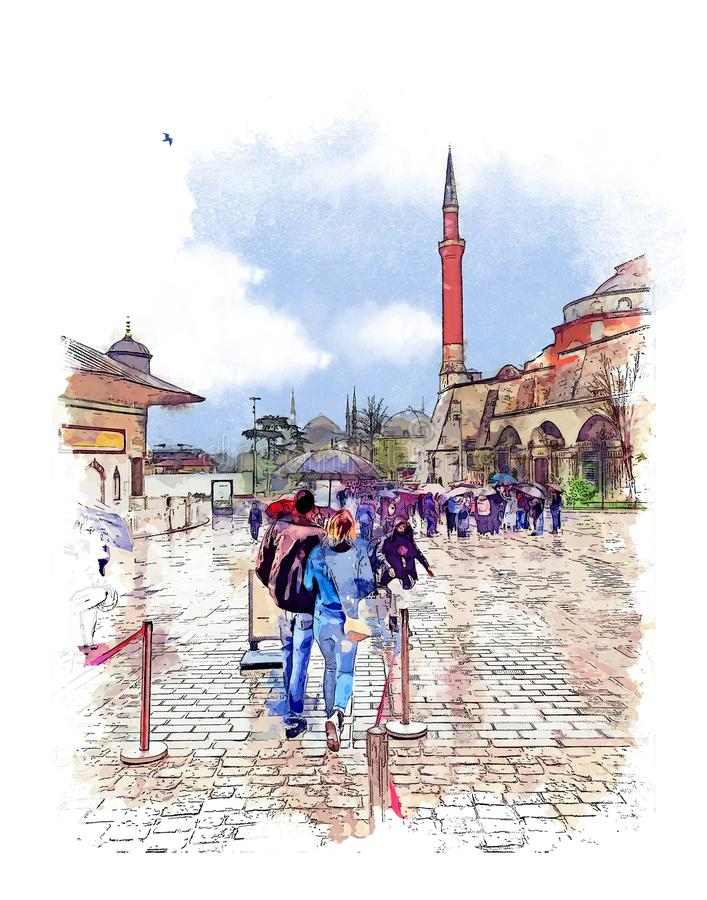 Fila a Hagia Sophia Museum, Istambul, Turquia Esbo?o da aquarela ilustração stock