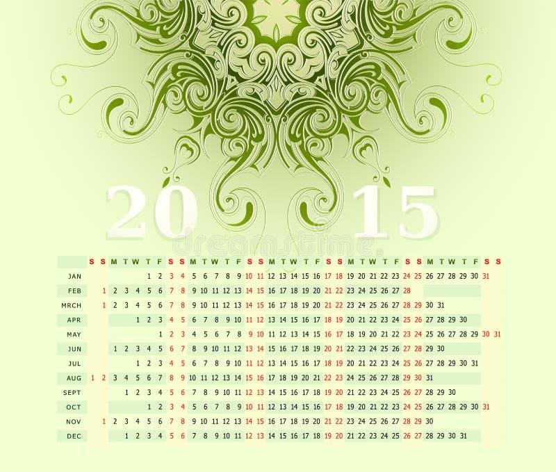 fila horizontal de 2015 calendarios ilustración del vector
