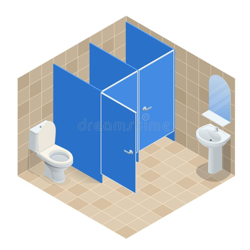 Fila isometrica del lavabo ceramico bianco nella toilette pubblica, interior design Illustrazione di vettore illustrazione vettoriale