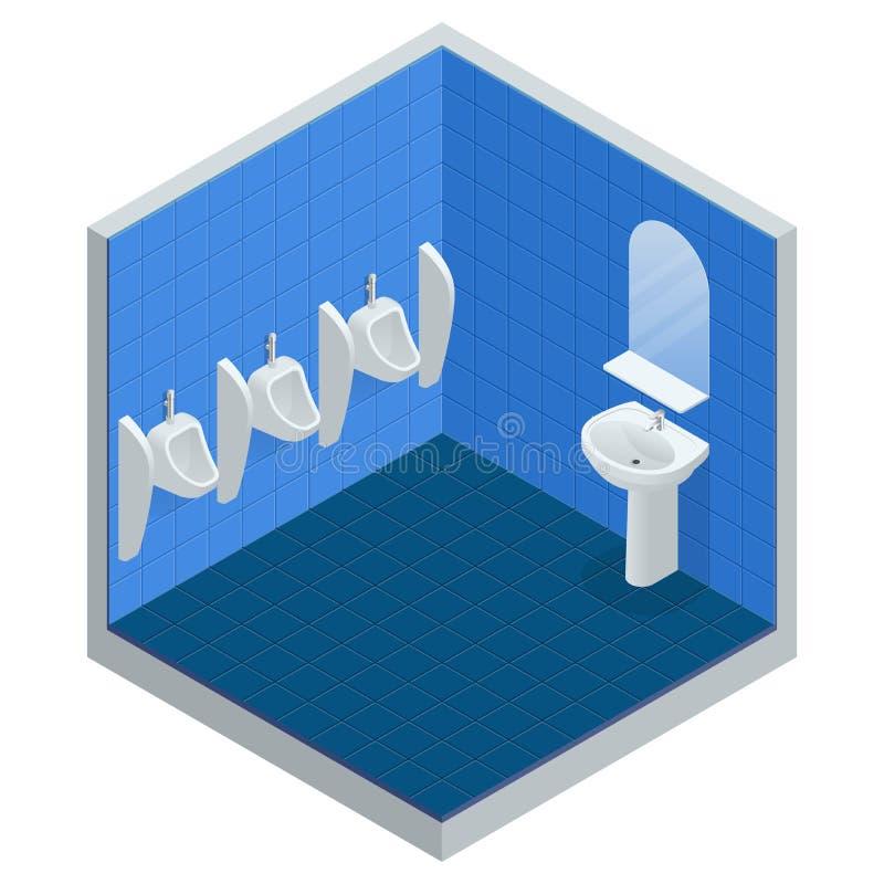 Fila isometrica della toilette pubblica degli uomini all'aperto degli orinali, orinali del primo piano nel bagno degli uomini s,  illustrazione di stock