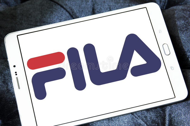 Fila logo. Logo of fila sportswear company on samsung tablet stock photography