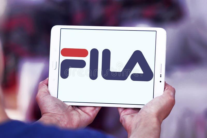 Fila logo. Logo of fila sportswear company on samsung tablet stock image