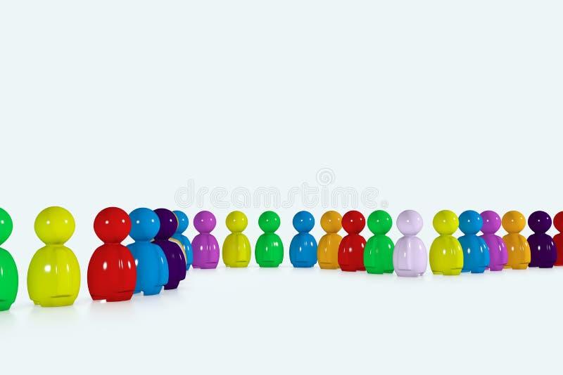 Fila multicolora formada por los seres humanos 3d stock de ilustración