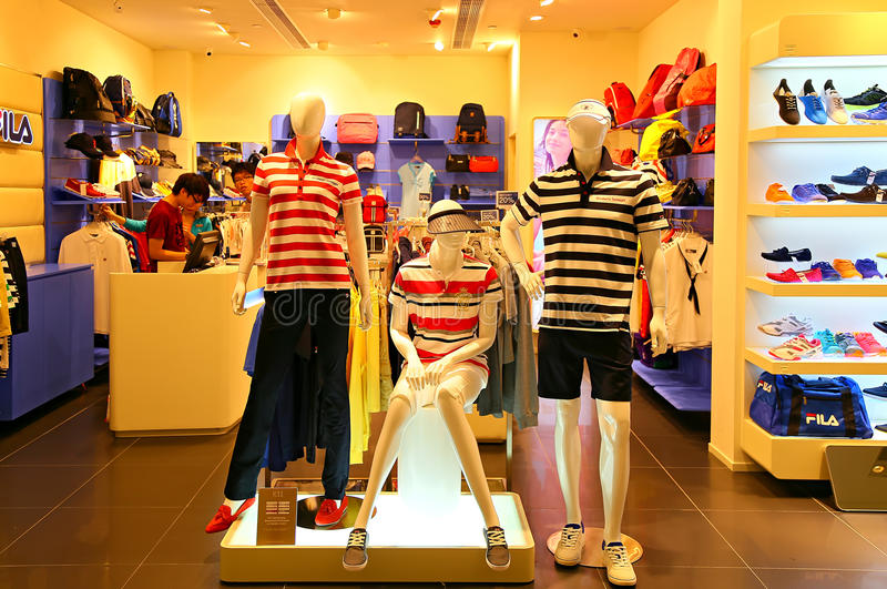Fila retail outlet. Retail outlet of fila, one of the world's largest sportswear and related accessories manurafacturer at k11 shopping mall in hong kong stock photo