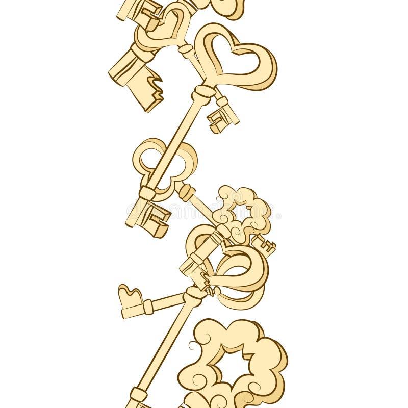 Fila senza cuciture delle chiavi d'annata royalty illustrazione gratis