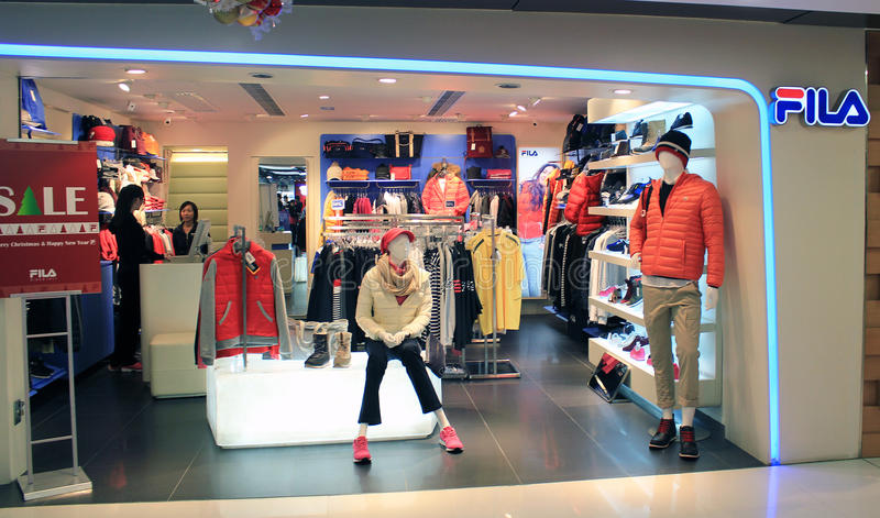 FILA shop in hong kong. FILA shop, located in Kwai Chung, Hong Kong. FILA is a clothing retailer in Hong Kong royalty free stock photos