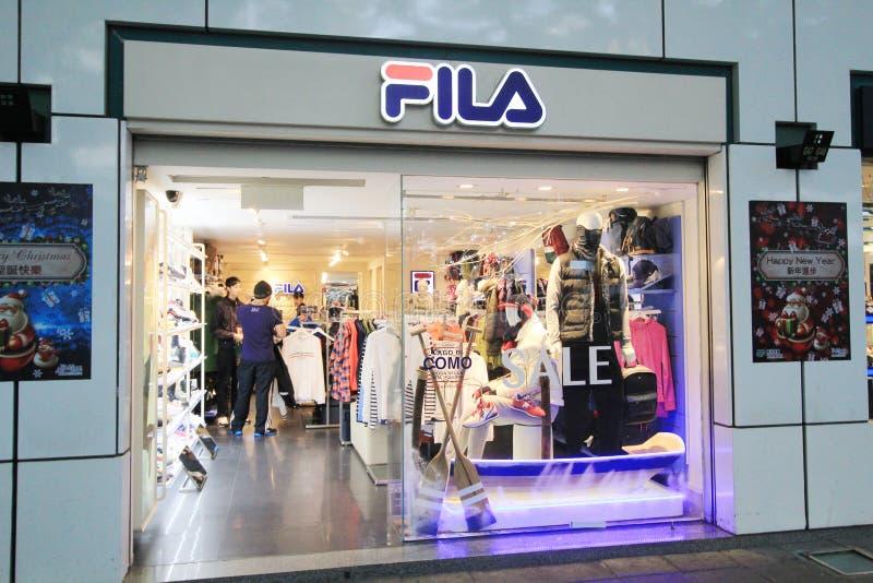 Fila shop in hong kveekoong. Fila shop, located in Tsim Sha Tsui, Hong Kong. fila is a clothes retailer in Hong Kong royalty free stock image