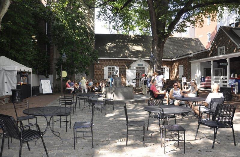 Filadelfia, il 4 agosto: Betsy Ross Courtyard House da Filadelfia in Pensilvania fotografia stock