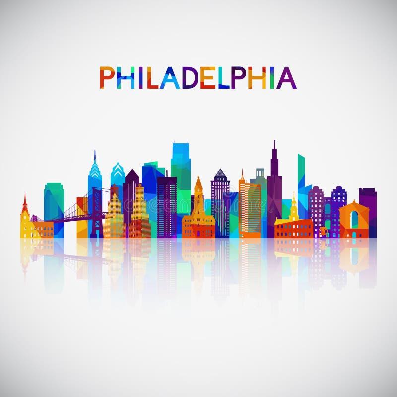 Filadelfia linii horyzontu sylwetka w kolorowym geometrycznym stylu royalty ilustracja