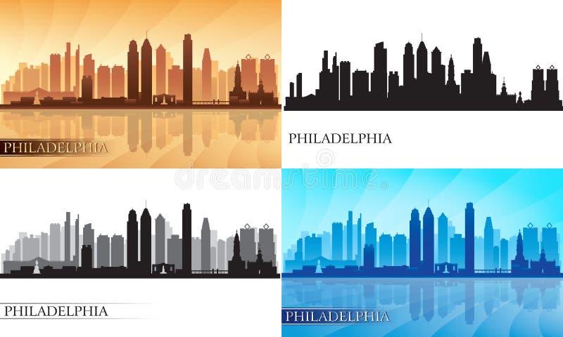Filadelfia miasta linii horyzontu sylwetki Ustawiać ilustracji