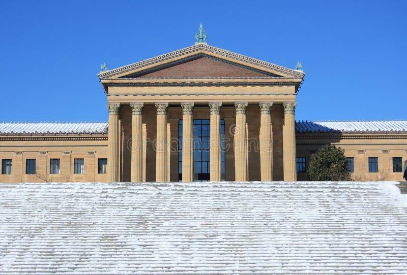 Filadelfia muzeum sztuki po śnieżnego spadku obraz royalty free