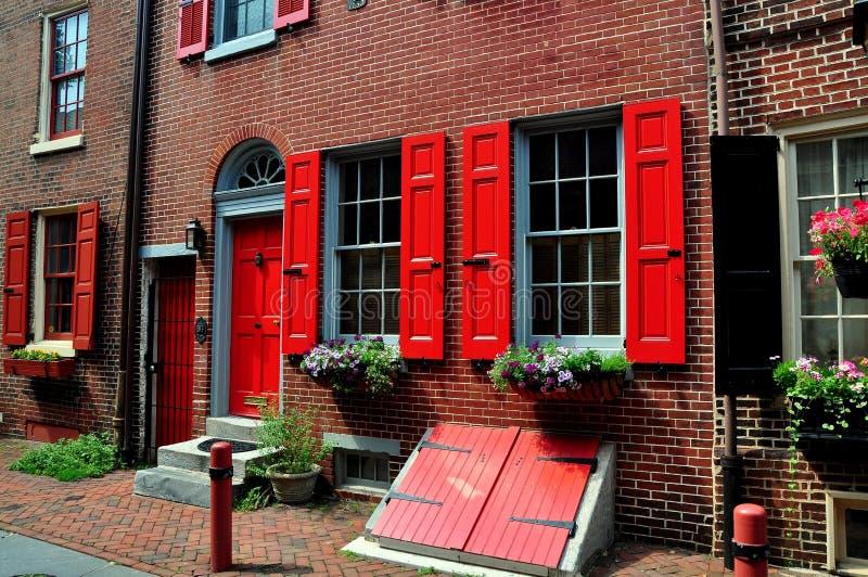 Filadelfia, PA: Case del vicolo di Elfreth immagini stock libere da diritti