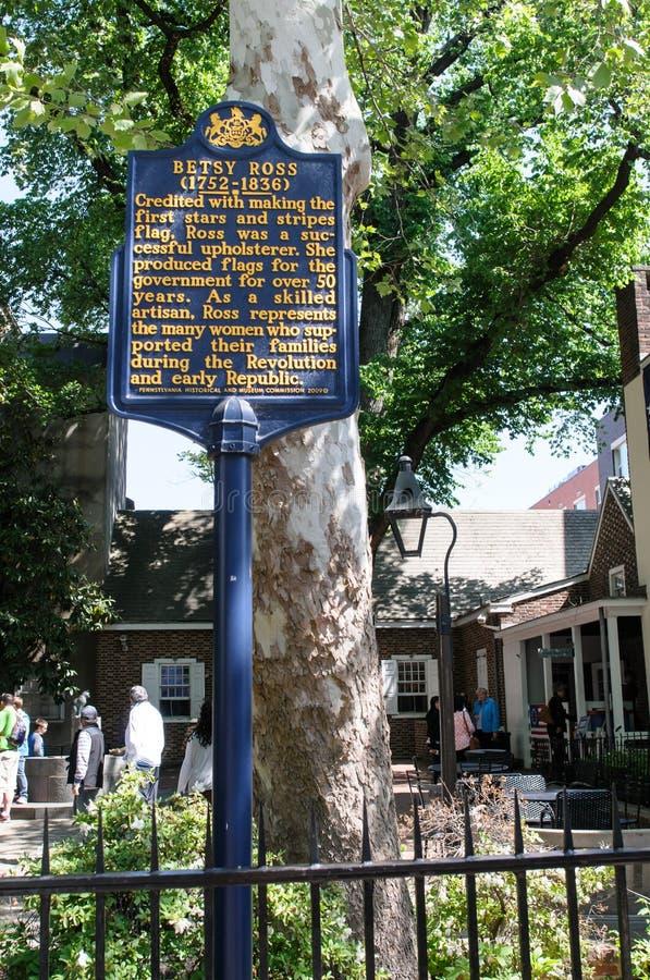 FILADELFIA, PA - MAJ 14: Historyczny znak przed Betsy Ross domem przy 239 Łękowatą ulicą na Maju 14, 2015 obrazy stock