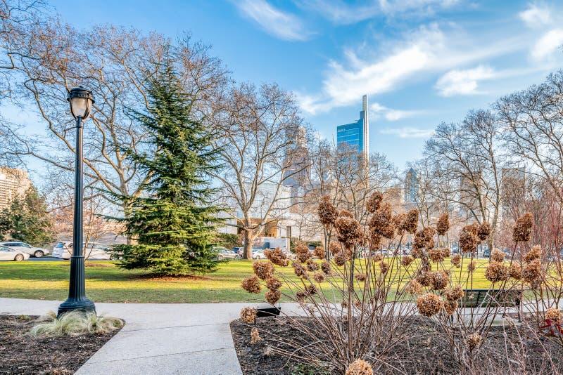 Filadelfia, Pensilvania, U.S.A. - dicembre 2018 - bella vista dell'orizzonte del centro di Filadelfia fotografia stock