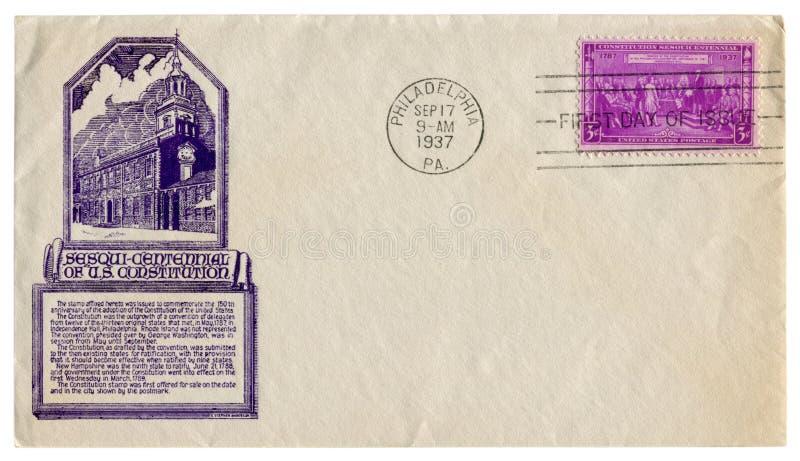 Filadelfia, U.S.A. - 17 settembre 1937: Busta storica degli Stati Uniti: copertura con indipendenza Corridoio, firma del prestigi fotografia stock libera da diritti