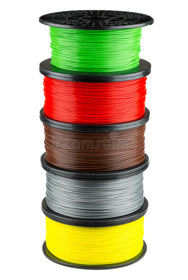 Filament coils for 3d print royalty free stock photography