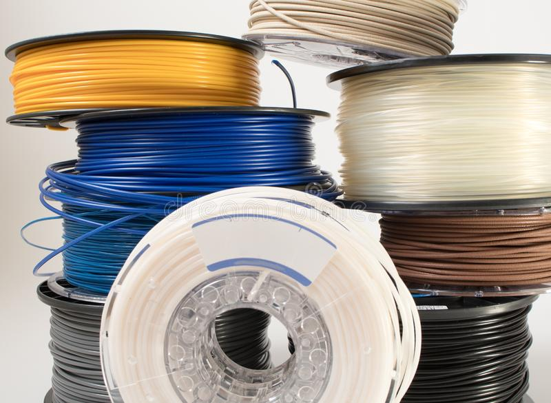 Filament for 3D printing stock photography
