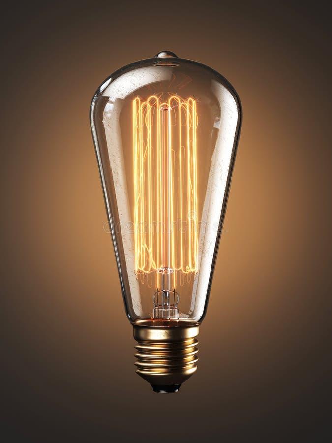 Filamento velho da lâmpada do bulbo no fundo claro 3d imagem de stock