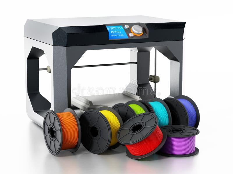 filamentos da impressora 3D ao lado da impressora ilustração 3D ilustração royalty free