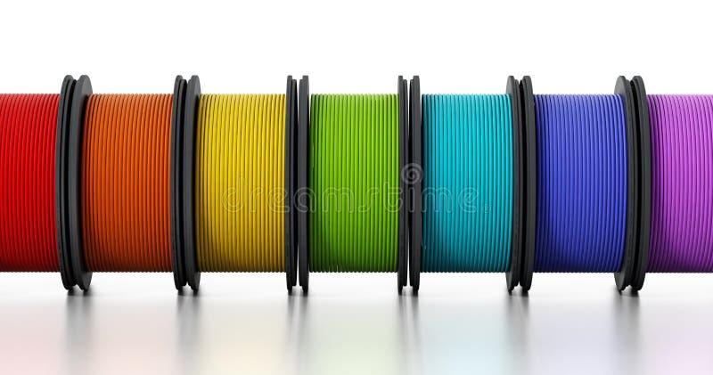filamentos da impressora 3D ilustração 3D ilustração stock