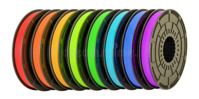filamentos da impressora 3D, ilustração 3D ilustração royalty free