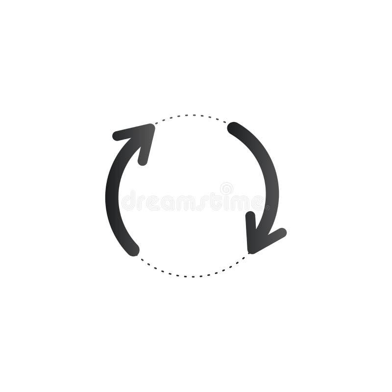 Filando, frecce giranti nel cerchio tratteggiato Ciclo, frecce risistemate Illustrazione di vettore isolata su priorità bassa bia royalty illustrazione gratis