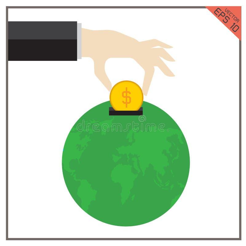 Filantropia global ajustada da ilustração da terra do vetor do mundo do dinheiro ilustração do vetor