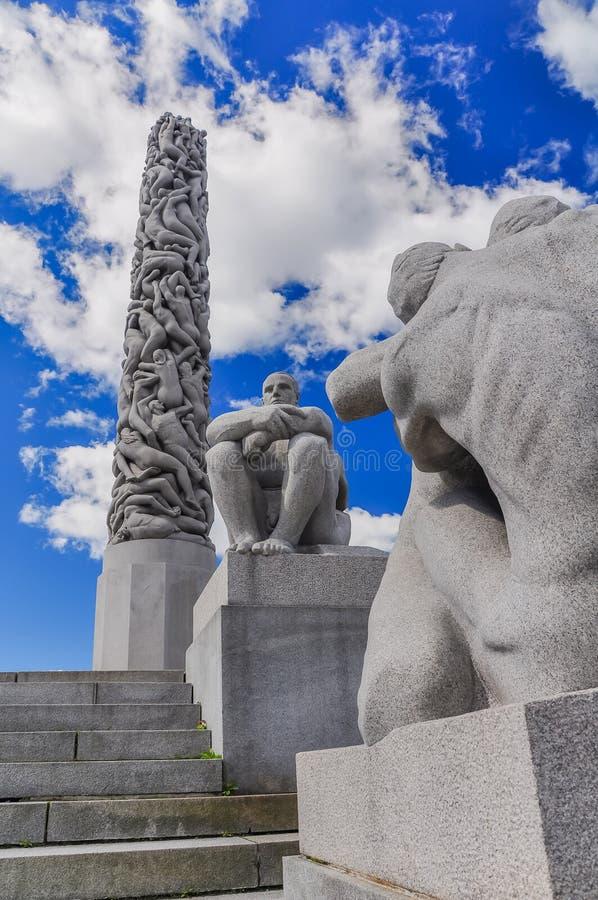Filar ludzie rzeźbi w Frogner parku, Oslo zdjęcia royalty free