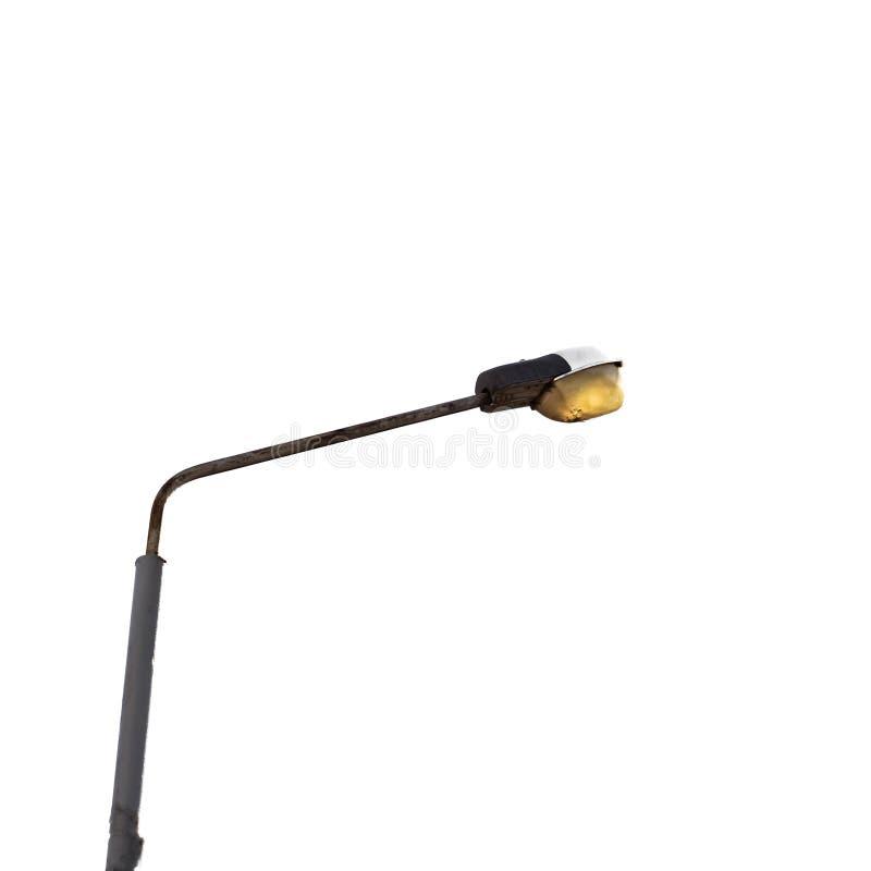 Filar z latarnią uliczną na białym tle fotografia stock