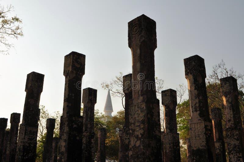 Filary Pavillon w Polonnaruwa, Sri Lanka zdjęcia royalty free