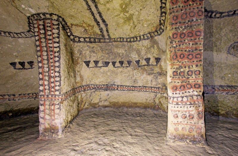 Filary w antycznym grobowu, Tierradentro, Kolumbia fotografia stock