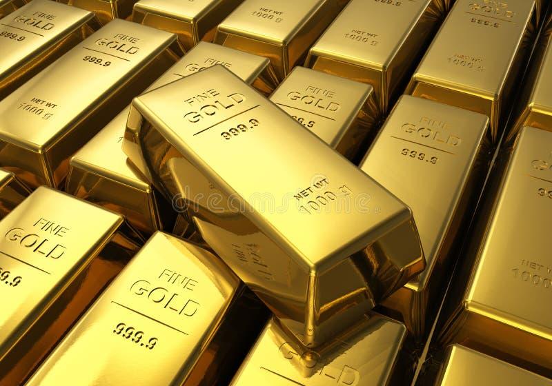 Filas de las barras de oro stock de ilustración