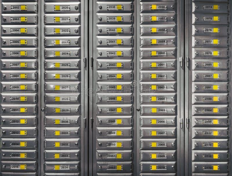 Filas de las cajas y de la cerradura del correo del metal llenadas de números Armarios seguros, cajas de depósito seguro Concepto fotos de archivo libres de regalías