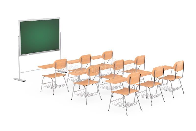 Filas de las tablas de madera del escritorio de la escuela o de la universidad de la conferencia con las sillas ilustración del vector