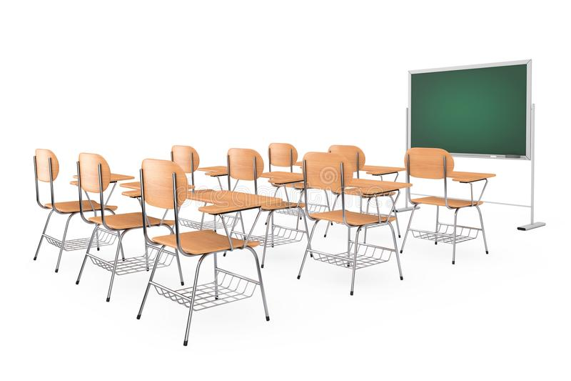 Filas de las tablas de madera del escritorio de la escuela o de la universidad de la conferencia con las sillas libre illustration