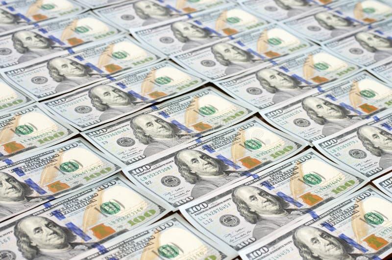 Filas de los nuevos billetes de dólar del diseño fotografía de archivo libre de regalías